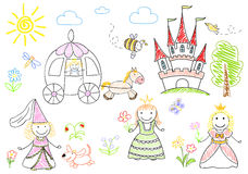 Sketches with happy princesses Royalty Free Stock Photo