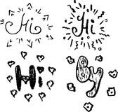 Sketches Hi, By. Hand drawn sketch Hi, By Stock Photo