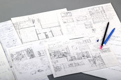 Sketches. Of interior design isolated on gray Royalty Free Stock Photography