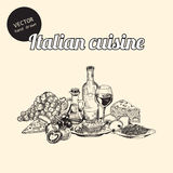 Sketches of Italian cuisine Royalty Free Stock Images