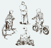 Sketches of the kids on the bikes in the city street Stock Photo