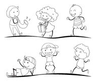 Sketches of kids Stock Image