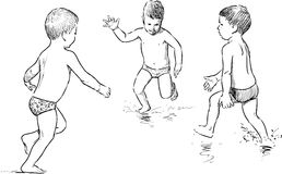 Sketches of the little boys on the beach Royalty Free Stock Photo