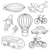 Sketches means of transport, vector illustration. Sketches means of transport, black and white vector illustration Stock Image