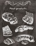 Sketches of meat foods. Hand drawn sketches meat products of on a black background Stock Photography