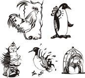 Sketches of miscellaneous birds. Vector set Stock Photo