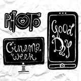 Sketches of mobile phone, TV set and lettering - Photo. Hand-drawn on black chalkboard. Vector illustration. Royalty Free Stock Image