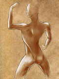 Sketches of muscular female figure. Posing showing off biceps. Pencil on paper Stock Images