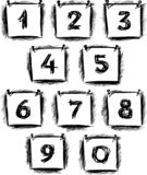 Sketches of numbers on paper sheets stock illustration