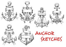 Sketches of old heraldic anchors with ribbons stock illustration