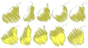 Sketches of pears. Image representing a stylized pears in different versions. a simple idea for projects about this fruit Royalty Free Stock Photos