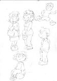 sketches and pencil sketches and doodles humorist illus the mothers and the children play,sketches and pencil sketches and doodles Royalty Free Stock Images