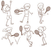 Sketches of people playing tennis. Illustration of the sketches of people playing tennis on a white background Stock Photography
