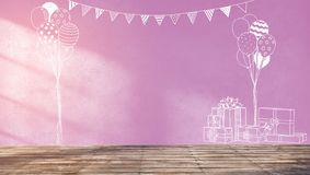 Sketches on pink wall for kids party or baby shower. 3d rendering illustration of sweet room preparing for party, baby showers, girl birthday. Nice chalk Stock Photography