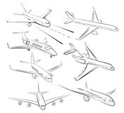 Sketches of planes. Sketches of big passenger planes of different models Royalty Free Stock Photos