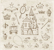 Sketches of princess accessories. Stock Photos