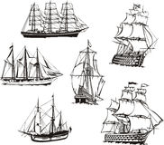 Sketches of sailing boats. Black and white sketches of sailing ships. Set of vector illustrations Royalty Free Stock Image