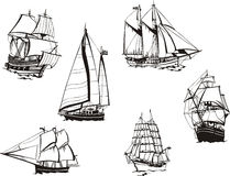 Sketches of sailing ships Royalty Free Stock Photography