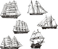 Sketches of sailing ships Royalty Free Stock Photos