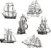 Sketches of sailing ships. Black and white sketches of sailing ships. Set of vector illustrations Stock Image