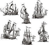 Sketches of sailing ships. Black and white sketches of sailing ships. Set of vector illustrations Royalty Free Stock Photo