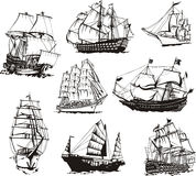 Sketches of sailing ships. Black and white sketches of sailing ships. Set of vector illustrations Stock Images
