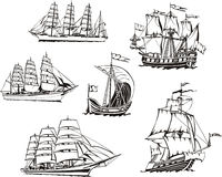 Sketches of sailing vessels stock illustration