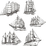 Sketches of sailings Royalty Free Stock Photo