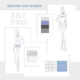Sketches-samples. Vector fashion model. Vector sketch silhouette. Dress pencil sketch. Vector lady. Vector fashion gir. Vector design elements. Samples of fabric Royalty Free Illustration