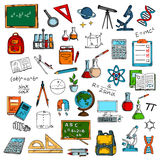 Sketches of school or university equipment Royalty Free Stock Image