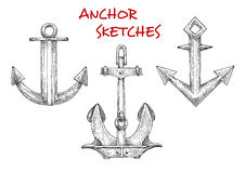 Sketches set of vintage boat anchors Royalty Free Stock Images