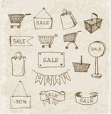 Sketches of shopping objects in vintage style Stock Photography