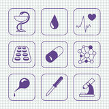 Sketches simple medical icons set Royalty Free Stock Photos