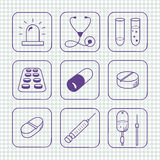 Sketches simple medical icons set Stock Image
