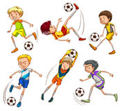 Sketches of the soccer players. Illustration of the sketches of the soccer players on a white background Royalty Free Stock Photography