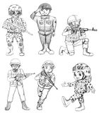 Sketches of soldiers Royalty Free Stock Images