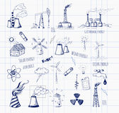 Sketches of  sources of energy Stock Photo