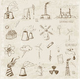 Sketches of  sources of energy Stock Images