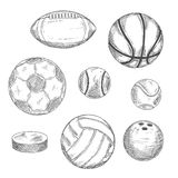 Sketches of sporting balls and ice hockey puck Royalty Free Stock Photography