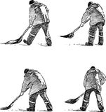 Sketches of a street cleaner at work. Vector drawing of the workers cleaning a street Royalty Free Stock Photos