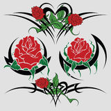 Sketches tattoo. Selection of sketches with colours of a rose both tribal  for registration and tattoo Stock Image