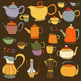 Sketches of tea and coffee objects Stock Photo