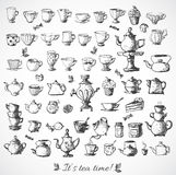 Sketches of tea objects. Royalty Free Stock Image