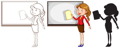 Sketches of a teacher in different colours Stock Photo