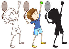 Sketches of the tennis player in three different colours Stock Photo