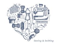 Sketches of tools and materials for sewing and knitting in the form of a heart Royalty Free Stock Images