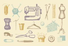 Sketches of tools and materials for sewing and knitting Stock Image