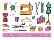Sketches of tools and materials for sewing and knitting. Sketches of sewing and needlework. Vector illustration of tools and materials Royalty Free Stock Photography