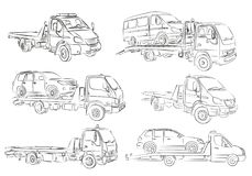 Sketches of tow trucks. Sketches of tow trucks and cars Stock Images