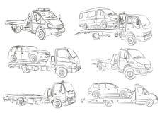 Sketches of tow trucks. Sketches of tow trucks and cars stock illustration